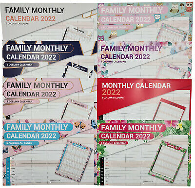 £2.99 • Buy 2022 Month To View Family Home Planner 5 Column Monthly Wall Family Organiser