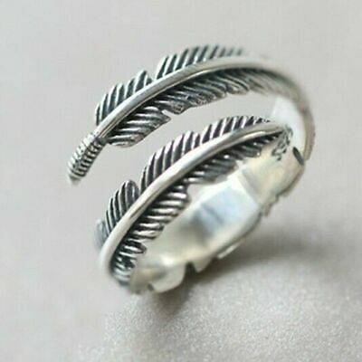 £4.29 • Buy 925 Sterling Silver Plated Leaf/Feather Ring Adjustable Finger Thumb Band UK