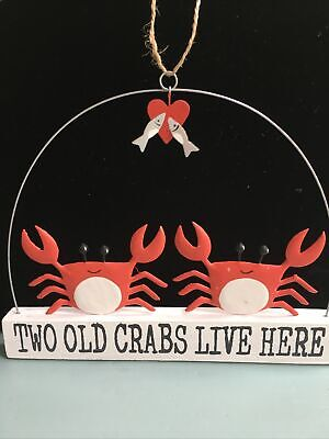 £7.99 • Buy Shoeless Joe Two Old Crabs Lives Here Sign Seaside Home Decor. Fish & Crabs.