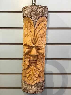 £28 • Buy Green Man Of The Woods 50cm Hand Carved Wizard Tree Trunk Wood Fairtrade
