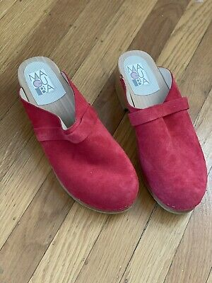 $55 • Buy MAGUBA OF SWEDEN, Low Profile, Women's Clogs, Red/Suede Size 39 Excellent Cond