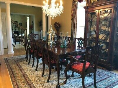 $4500 • Buy Link Taylor Mahogany Chippendale Dining Table & 10 Chairs