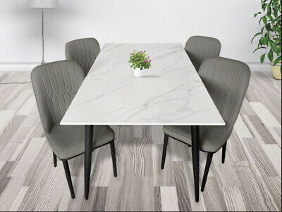 AU675 • Buy Marble Porcelain  Dining Table & Chairs Set - 7 Pieces - White