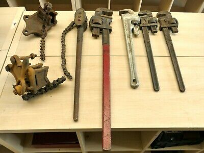 £150 • Buy 7 X Adjustable Pipe /Chain Wrenches - Record, Chatwin, Stilsons   19