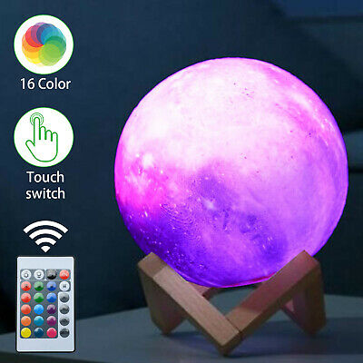 £9.99 • Buy 16 Colour Moon Galaxy Lamp USB Night Light Kids Dimmable LED 3D + Remote Control