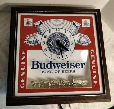 $ CDN137.21 • Buy Budweiser King Of Beers Lighted Sign With Gold Clydsdales And Clock
