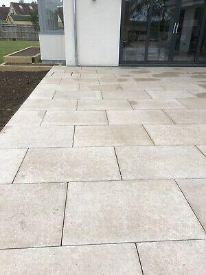 £430 • Buy Tumbled / Brushed Limestone Floor Tiles For Outdoor Terracing. Crate Of 28 Tiles