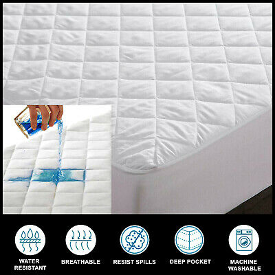 £10.85 • Buy 100%cotton Waterproof Quilted Mattress Protector Fitted Sheet Single Double King
