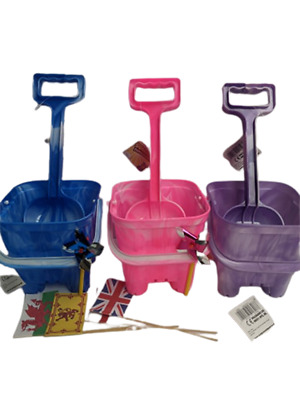 £8.95 • Buy Bucket And Spade Sandcastle & 4 Flags 2 Mini Windmill Marble Blue Pink Or Purple