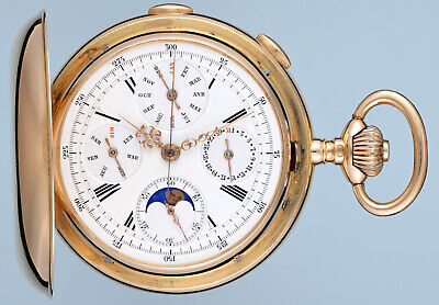 £9500 • Buy UNUSUAL MOONPHASE MINUTE REPEATING GOLD HUNTER (YouTube Video)