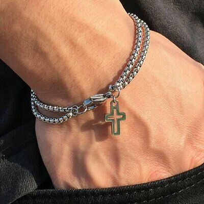 $2.95 • Buy Double Layer Cross Stainless Steel Bracelet Chain Men Jewelry Claw Clasp Closure