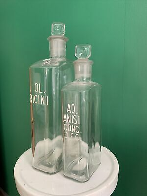 £45 • Buy Two English Vintage Clear Square Glass Pharmacy Chemists Apothecary Bottles Jars
