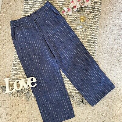 £16.99 • Buy East Size 14 Blue Striped 100% Linen Casual Summer Wide Leg Trousers Loose Fit