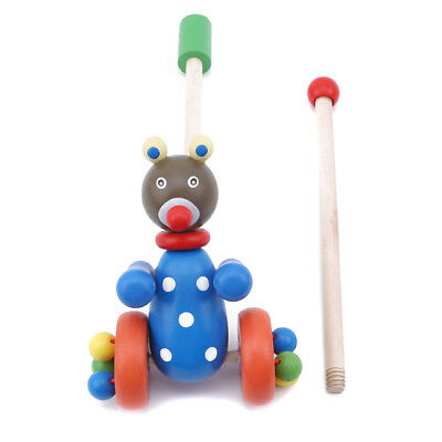 £7.08 • Buy Wooden Animal Push Pull Along Toys Puzzle Trolley Pushing Baby Kids Toys SH