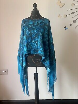 £39.99 • Buy Beyoncé House Of Dereon Butterfly Print Fringed Poncho-one Size. RRP £75-NWT