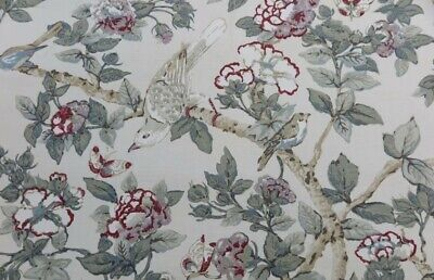 £75 • Buy SANDERSON CURTAIN FABRIC DESIGN Caverley 3.2 METRES ROSE AND PEWTER LINEN BLEND