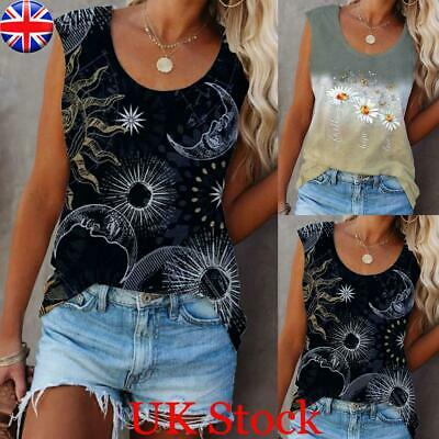 £9.29 • Buy Womens Floral Print Casual Sleeveless T-Shirts Vest Tops Ladies Summer Blouse UK