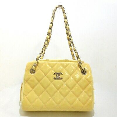 AU1421.90 • Buy Auth CHANEL Matelasse Yellow Patent Leather Womens Shoulder Bag