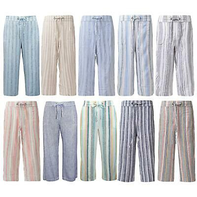 £14.95 • Buy Ex M&S Marks And Spencer Womens Stripe Linen Trousers Plus Sizes 8 - 30