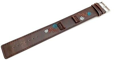£6.99 • Buy Kahuna Womens Highly Durable Brown Flower Pattern Pu Cuff Style Watch Strap