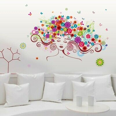 £5.77 • Buy Beautiful Woman Flower Butterfly Wall Stickers Bedroom Living Room Home 3D Decal