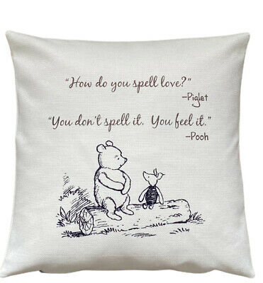 £4.99 • Buy *SALE* Spell Love - 40cm Ivory Cushion Cover Winnie The Pooh Nursery Baby Gift