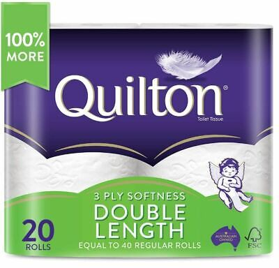 AU24.95 • Buy Toilet Paper 20 Rolls Deluxe Quilton 3 Ply Double Length Large Roll Tissue Bulk