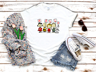 £7.99 • Buy Charlie Brown Friends Snoopy Hello 3/4 Short Sleeve Woman T Shirt F011