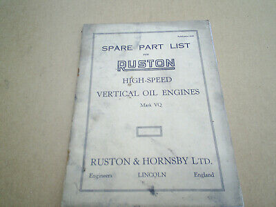 £15 • Buy Ruston And Hornsby VQ Spare Parts List