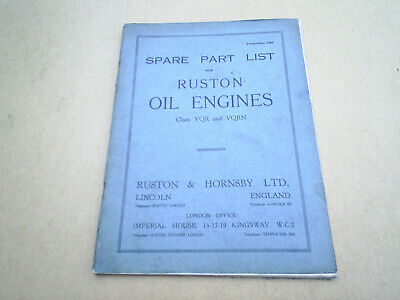 £15 • Buy Ruston And Hornsby VQR & VQRN Spare Parts List