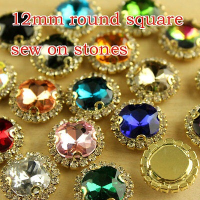 $6.59 • Buy 12p 12mm Costume Dress Square Crystal Glass Rhinestone Applique Sewing On Beads