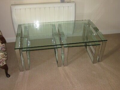 £25 • Buy NEST OF 3 X GLASS COFFEE TABLES