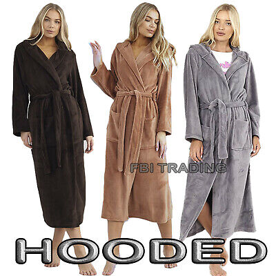 £21.95 • Buy WOMENS LADIES DRESSING GOWN Hooded Fleece Fashion NEW LONG LENGTH