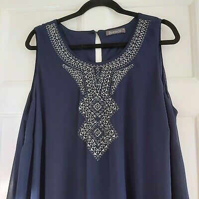 £17 • Buy Special Occasion Dress Size 18 (44 ) Midnight Blue,silver Embroidery  Vgc