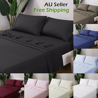 AU36.90 • Buy 4 Pack FLAT & FITTED Sheet Sets Single/King Single/Double/Queen/King Size Soft