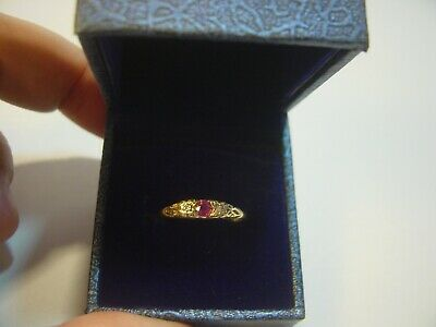 £155 • Buy Incredible Solid 9ct Gold Ring-ruby & Sparkly Diamonds Size M Very Pretty Vintag
