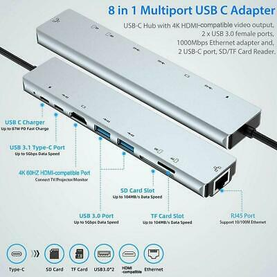 AU28.87 • Buy 8 In 1 Multiport Type C To USB-C 4K HDMI Adapter USB For Macbook Hub 3.0 Q7S7
