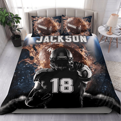£52.94 • Buy Football Personalized Duvet Cover Bedding Set Football Player Bedding Set