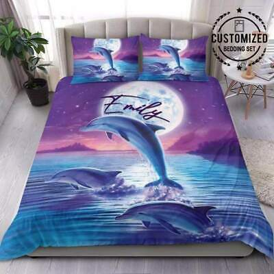£52.94 • Buy Dolphin With The Moon Personalized Bedding Set