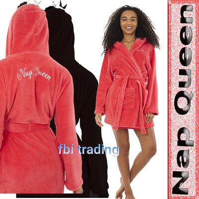 £19.95 • Buy WOMENS LADIES DRESSING GOWN Hooded Fleece Fashion  NAP QUEEN