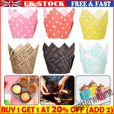 £4.74 • Buy 50/100Pcs Large Tulip Muffin Cases Cupcake Wraps Multiple Colours Wrapper Party