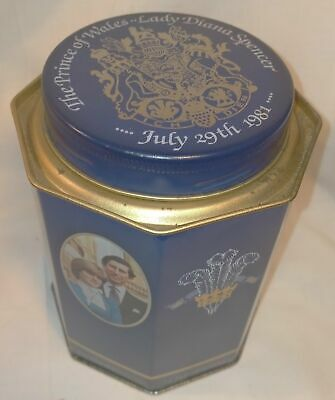 £7.99 • Buy Vintage Charles & Diana Wedding Collectors Tin Hexagon In Great Condition