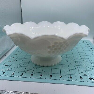 $17.99 • Buy Large Milk Glass Scalloped Edge Bowl Compote With Pedestal Grapes Leaves Design
