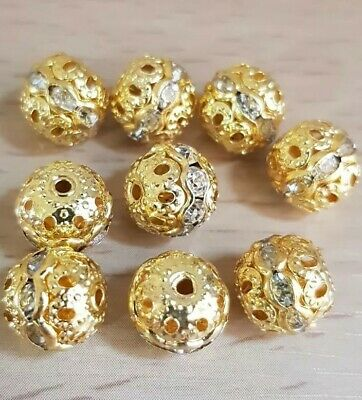 £5.99 • Buy 30Pcs Rhinestone Balls Gold Plated Rondelle Spacers Beads 8mm❤.