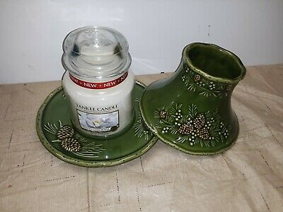 £29.05 • Buy NEW Vintage Yankee Candle Green Pinecone Denbi Underplate And Shade W/Candle