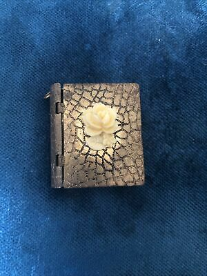 £9.99 • Buy Antique Miniature Book With Flower Photo Enamel Pendant Old