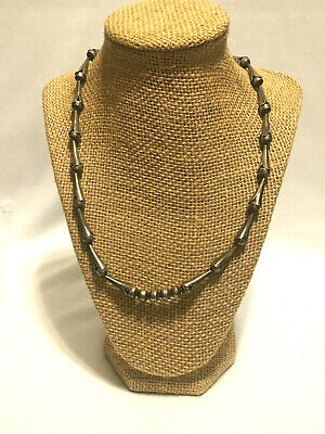 $ CDN94.73 • Buy Vintage Native American Sterling Silver Squash Blossom Bench Bead Necklace