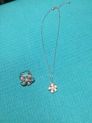 """$ CDN28.02 • Buy Lot Of 2 New Lia Sophia WILD ROSE Necklace 16-18"""" & Ring Size 8 Silver Toned"""