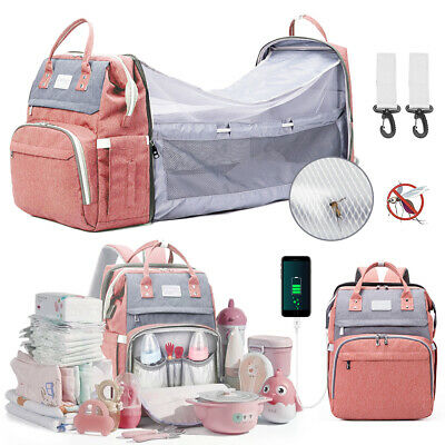 £27.99 • Buy Multi-Function Baby Diaper Backpack Baby Folding Bed Nappy Mummy Changing Bag