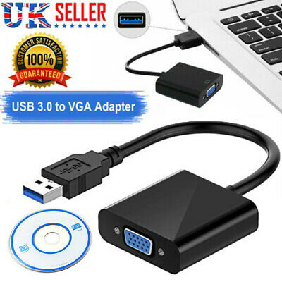 £4.99 • Buy USB 3.0 To VGA Video Adapter Cable 1080p Converter For PC Laptop Windows 7 8 10